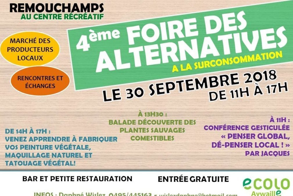 4ème Foire des Alternatives ce 30 septembre à Remouchamps